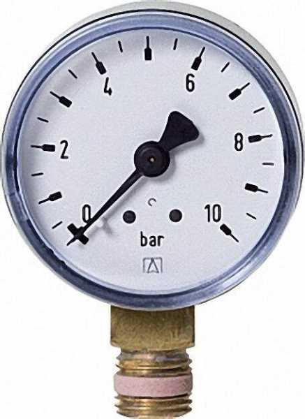 RF Manometer 50 radial 0-10 bar, Anschluss 1/4'' radial (unten)