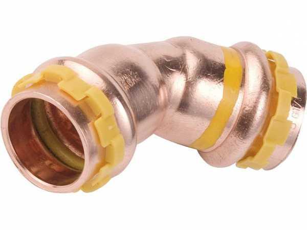 Kupfer Pressfitting Gas Bogen 45° D: 22mm PG 5041 Gas, i/i