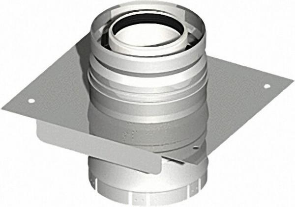 EVENES Kunststoff-Abgassystem Konsolplatte mit Zuluftstutzen, inklusive Klemmband - DN 80/125