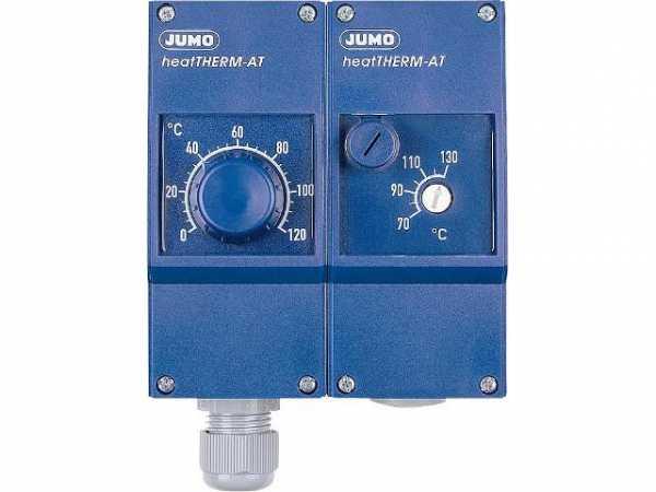 JUMO Heizungsdoppelthermostat JUMO heatTHERM AT Typ 603070/0170 G 1/2'' Messing vernickelt