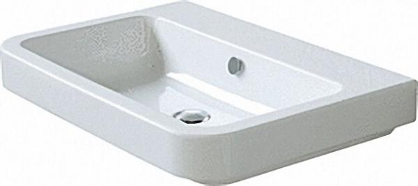 Waschtisch `TULIP` 75cm hochwertige weiße Design-Keramik wandhängend, mit 1 Hahnloch