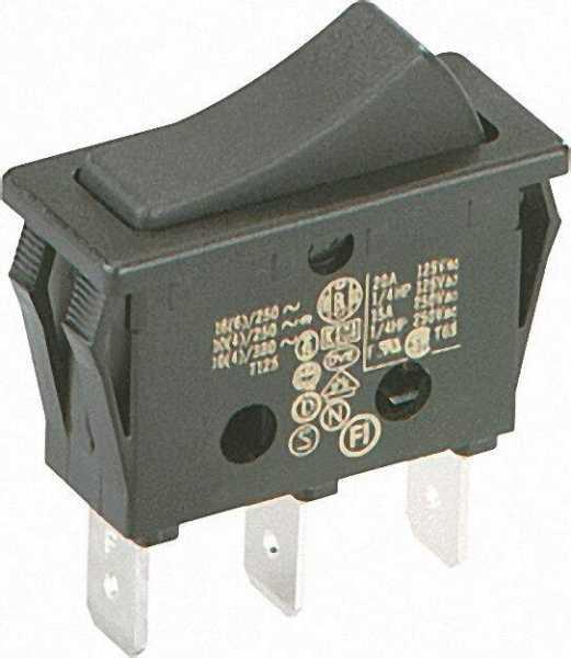 Wipp-Schalter 16 A Löt-/Steckanschluss 6, 3mm 1 polig schwarz