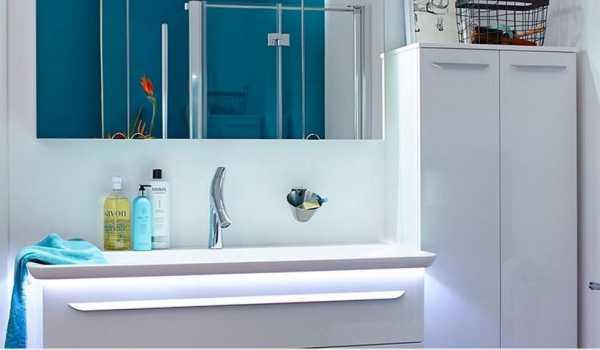 LANZET 7200812 M9 Mineralguss-Waschtisch 97/4/54, Weiß + LED