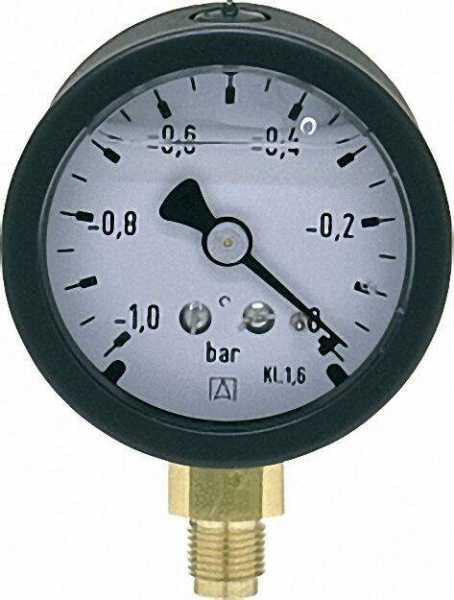 Vakuummeter 50 durch 1/8'' unten -1-0 bar mit Glyzerinfüllung