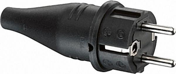 Gummi-Schutzkontaktstecker schwarz, 10/16A 250V