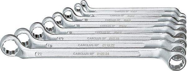 CAROLUS Doppel-Ringschlüssel 12-teilig / gekröpft 6x7 - 30x32