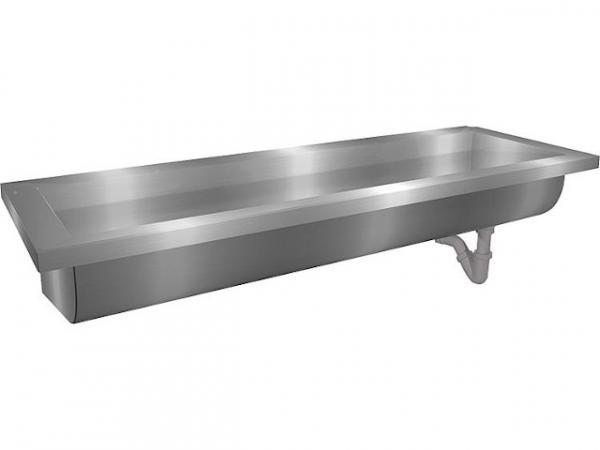 Waschrinne Edelstahl mit Hahnbank 70mm, ohne Hahnloch 1400x240x400 mm