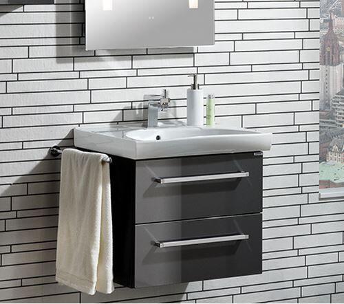 LANZET 7406512 K3 Waschtischunterschrank 88/48/43,5, Weiß/Eiche Maron,2 Schubladen