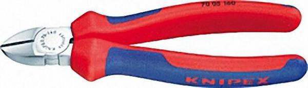 Seitenschneider verchromt mit zweifarbigen Mehrkomponenten Griffhüllen Länge 140mm mit Facette