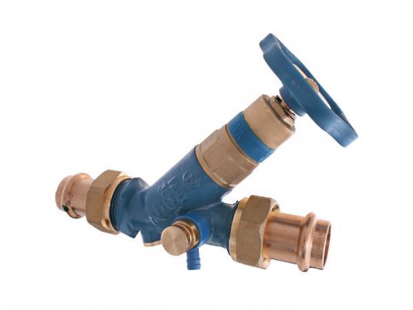 KFR-Ventil, Serie Blue-tec, mit Pressanschluss (Außengewinde) MULTI, mit Entleerung, mit nicht steigender Spindel, DN20, Pressdurchmesser 18
