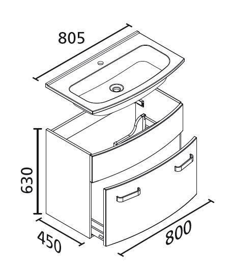 LANZET 7530512 S2 Waschtischunterschrank:, 80x63x45cm, Eiche Maron/Eiche Maron, 1 Schublade