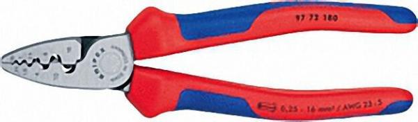 Aderendhülsenzange poliert mit zweifarbigen Mehrkomponenten Griffhüllen Länge 180mm