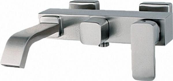 Wannenmischer Edelstahl matt AP inox Cubo, Ausl. 226mm