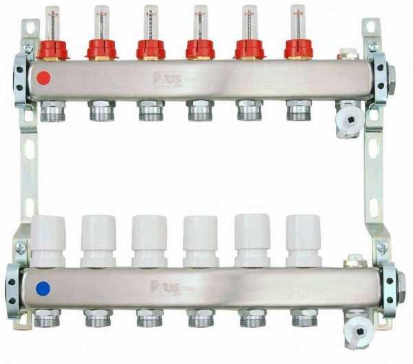 Heizkreisverteiler aus Edelstahl für Fußbodenheizung Profi-Ausführung 6-fach