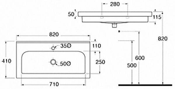 EVENES Waschtisch TRENDY BxHxT:810x115x410mm mit 1 Hanhloch