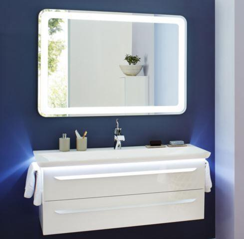 LANZET 7202812 M9 Mineralguss-Waschtisch 127/4/54, Weiß+LED