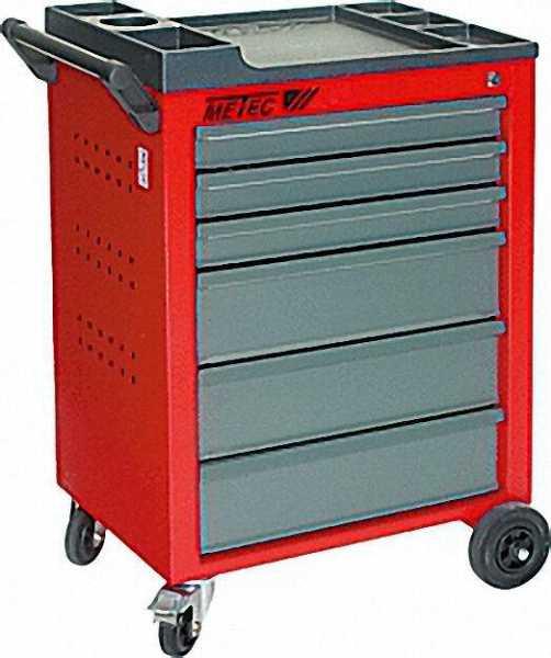 METEC Werkstattwagen, rot HxBxT 930x630x410mm mit 6 Schubladen Art. Nr. 60060