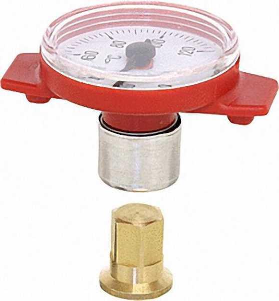 Thermometer für Kugelha. bis 3/4'' und T-Pumpenkugelhahn 1'' 0°-120° Skala Nylongehäuse