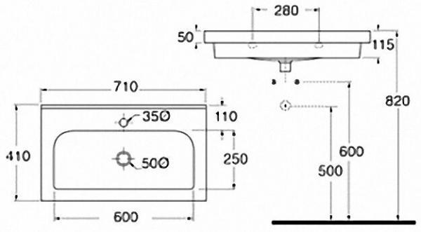 EVENES Waschtisch TRENDY BxHxT:710x115x410mm mit 1 Hanhloch