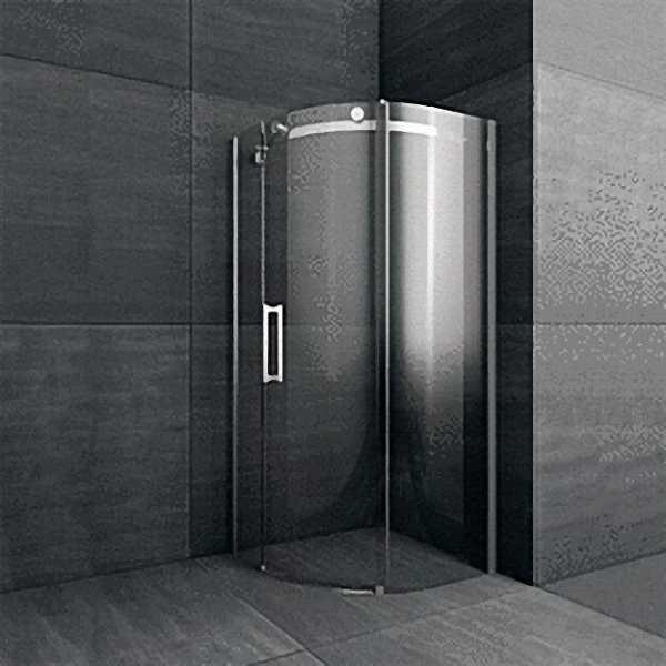 Duschkabine 1/4-Kreis, R=550mm, Tür nach links, Sicherheits-Glas 8mm, 990x2000mm, Einstieg 500mm