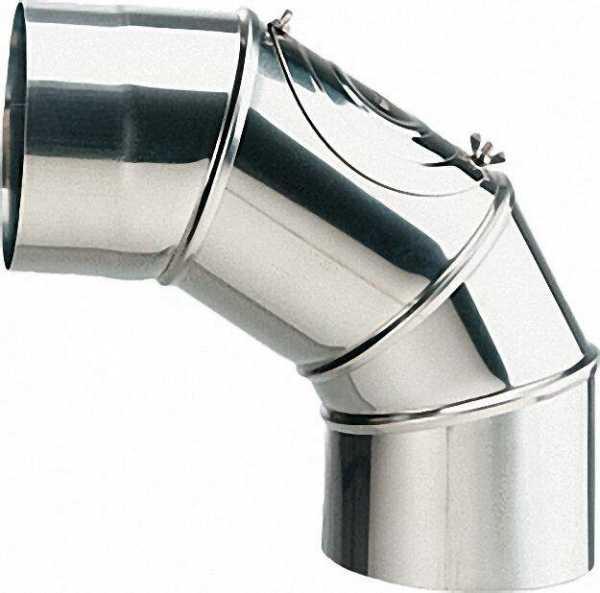 Edelstahl-Abgasrohrbogen 130mm VPE = 3 Stück