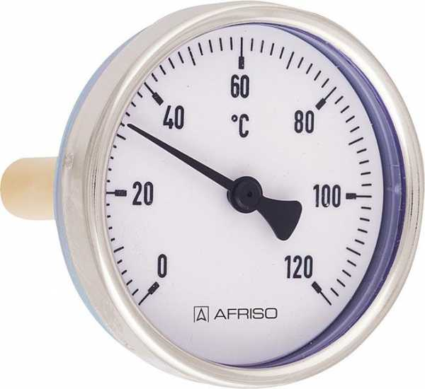 "AFRISO Bimetall-Zeigerthermometer 0 - 120°C, 1/2"", 63 mm, Stahlblechgehäuse"