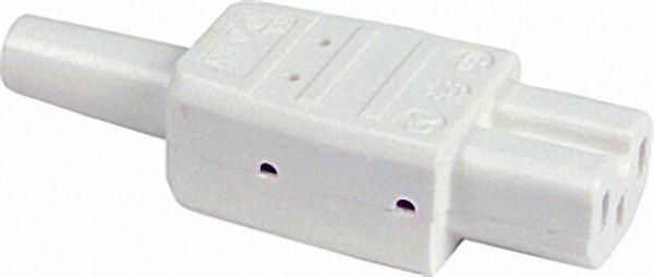 Warmgerätestecker bis 120°C mit Tülle 230 V/10A weiß