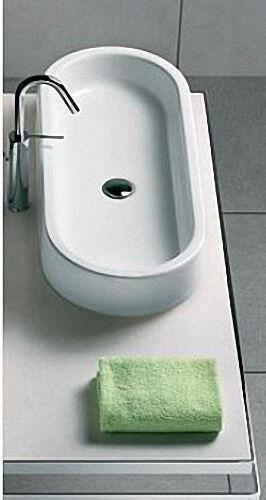 Aufsatz-Waschtisch AREA aus Keramik, ohne Hahnloch, oval, weiß, BxHxT:800x110x350mm