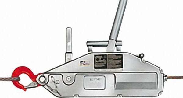 GEWA-Seilzug mit Hebelrohr, Seil und Handhaspel, Typ Y 16, Zugkrafür 1600 kg, Seillänge 20 m