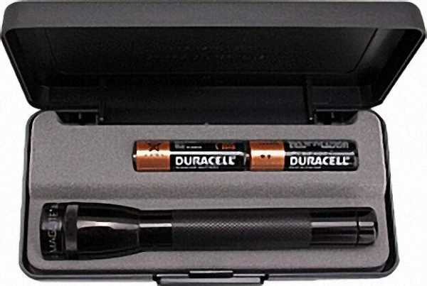 Stablampe Mini-Mag im Geschenketui, mit 2 Mignon-Batterien Farbe: Schwarz