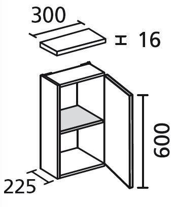 LANZET 7111612 Hängeschrank 30/60/20 rechts Pinie/Pinie 1 Tür