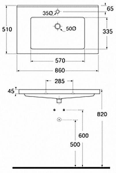 EVENES Waschtisch TRENDY BxHxT:860x115x510mm mit 1 Hanhloch