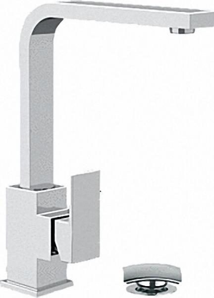 Waschtisch-Einhandbatterie Serie Skyline, mit kurzem Auslauf Modell ''U'', Ablaufgarn. click-clack