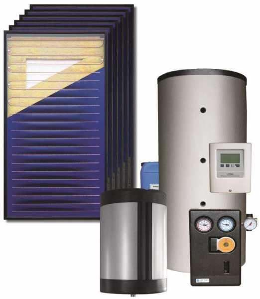 STI Solarpaket Kurt 15,12 m² Bruttofläche Flachkollektor Aufdach, 1,000l, Drain Back