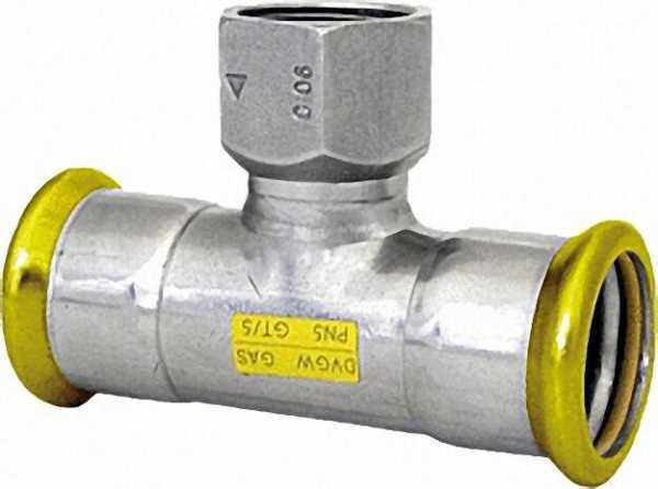 Edelstahl Pressfitting Gas T-Stück mit IG, 54 x 1/2 x 54