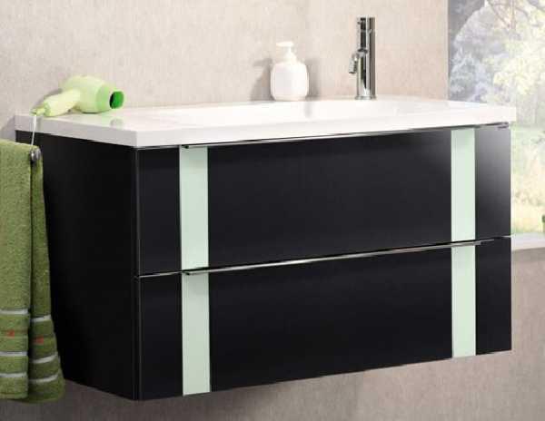 LANZET 7271712 VEDRO Waschtischunterschrank: + Becken 89x48x49 Grafit/mint, 2 Schubladen