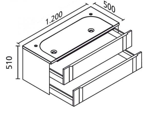 LANZET 7272112 VEDRO 48 Waschtischunterschrank: + Becken 119x48x49 Dekor Dark Oak /mint, 2 Schublade