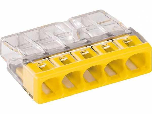 Verbindungsdosenklemmen 5-Leiter-Klemmen, gelb 2273-205 / VPE 100 Stück