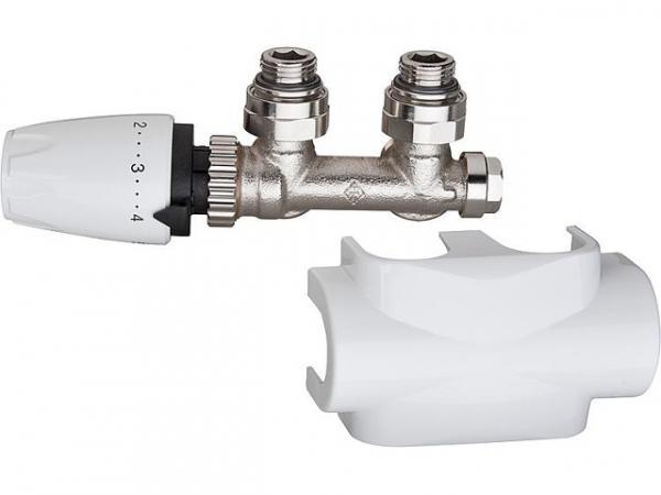 Heimeier Multilux Ventilset Eck inklusive DesignLine Verkleidung + Thermostatkopf Typ DX weiß