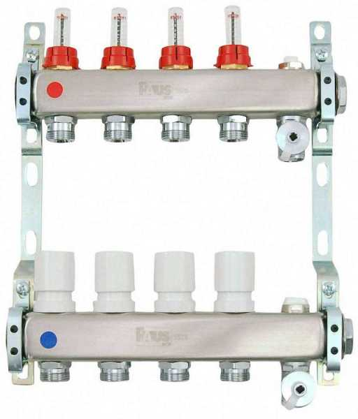 Heizkreisverteiler aus Edelstahl für Fußbodenheizung Profi-Ausführung 4-fach