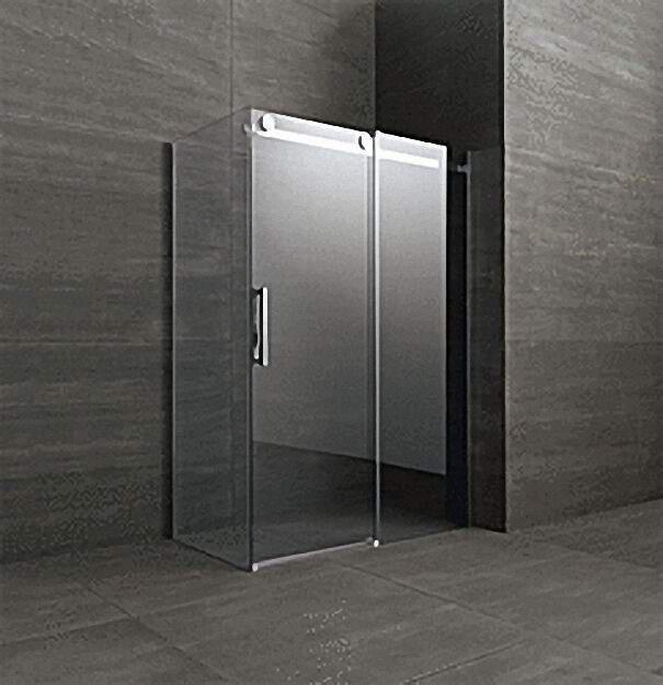 Duschkabine mit Seitenteil, Tür+Seitenteil rechts, Fixteil links, 1400