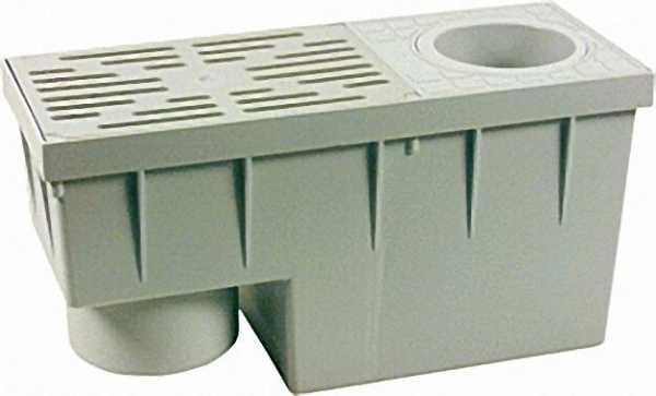 Regensinkkasten für Fallrohre 75-100mm 380x155x200mm senkrecht DN 100