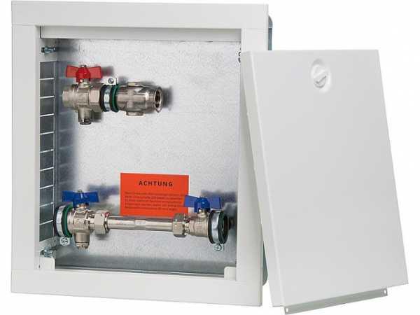 Wärmezähleranschlussstation Strawa horizontal Typ AS12h WMZ, weiß,Wandschrank, Maße=330x370mm