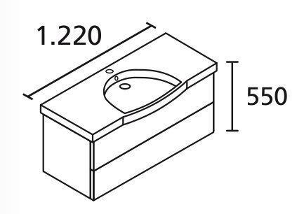 LANZET 7103312 K3 Waschtischunterschrank: 118/48/47, Weiß/Weiß, 2 Schubladen
