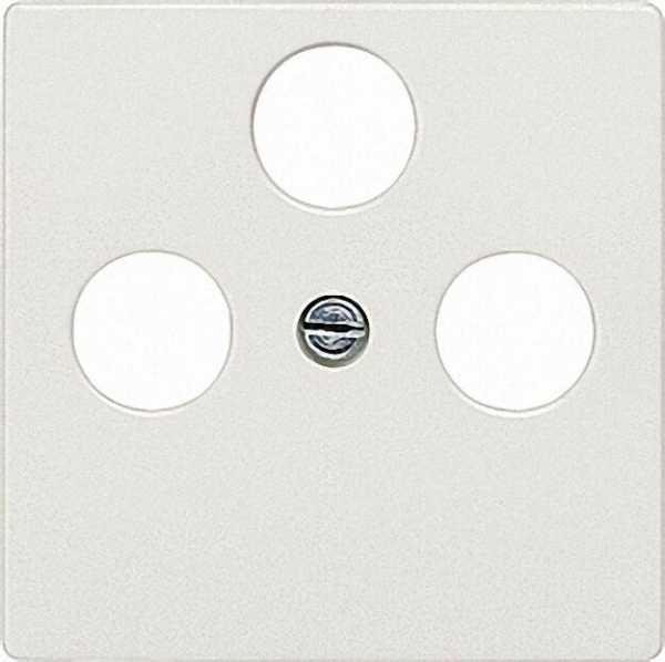 Abdeckplatte für TV/SAT-Anschluss titanweiß/ Schutzart IP20 3-Loch-Ausführung / 1 Stück