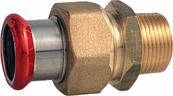 C-Stahl Pressfitting Durchgangsverschraubung mit Aussengewinde flachdichtend 22. R3/4