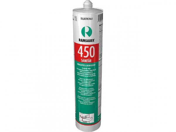RAMSAUER Sanitär Fugendicht 450, silbergrau, hochwertige Silicondichtungsmasse, 310 ml, 2000390