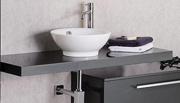LANZET 7241712 Q4 Waschtisch Platte, Grafit Hochglanz 90x50x6 cm