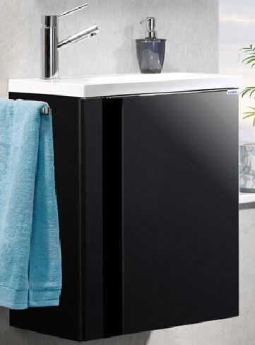 LANZET 7270812 VEDRO Waschtischunterschrank: + Becken 49x60x32 links Grafit/schwarz, 1 Tür