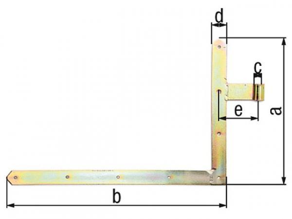 Torwinkelbeschlag untere Ausführung, gelb verzinkt 400x600x16 mm
